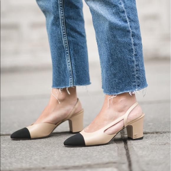Chanel Shoes Two Tone Slingback Heels Poshmark